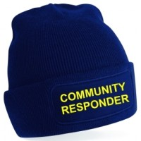 Community First Responder Printed Quality Beanie Hat. In Red, Black, Navy, Blue, Green and Grey
