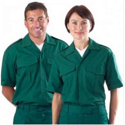Unisex Bottle Green Short Sleeved Ambulance Shirt.